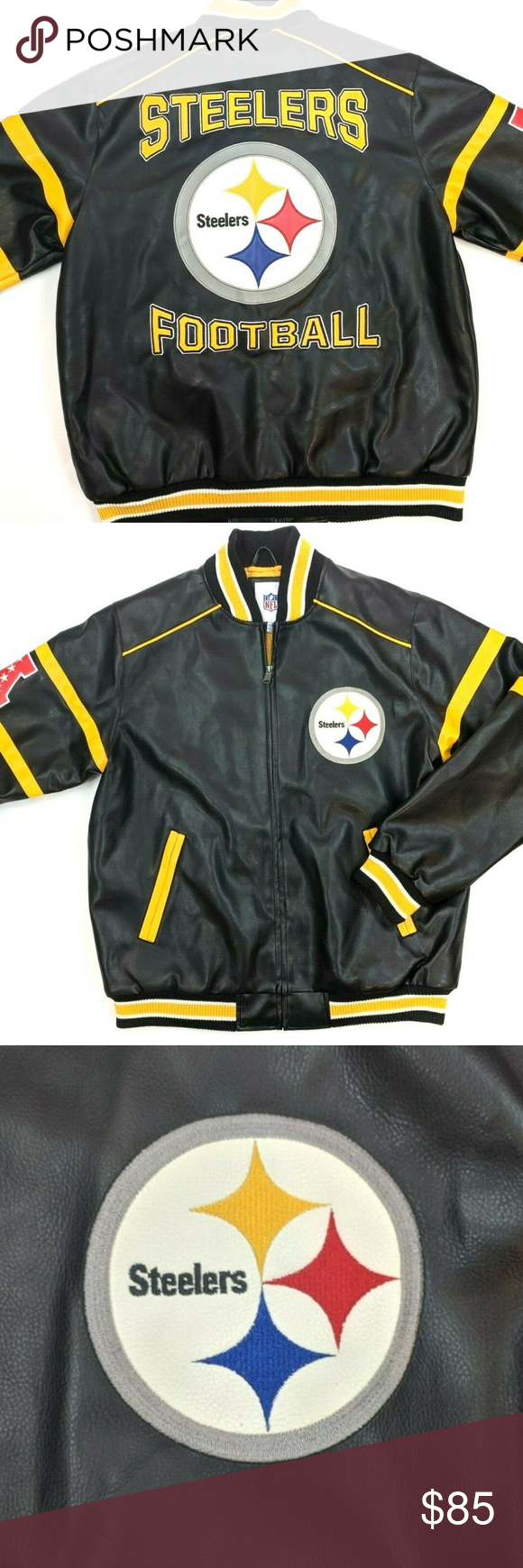 NFL Pittsburgh Steelers Faux Leather Jacket M Faux