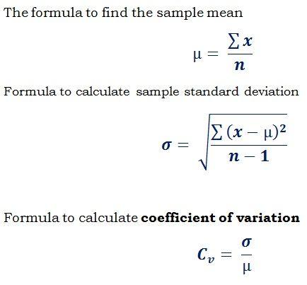 Formula Cv  Standard Deviation  Mean To Find Coefficient Of