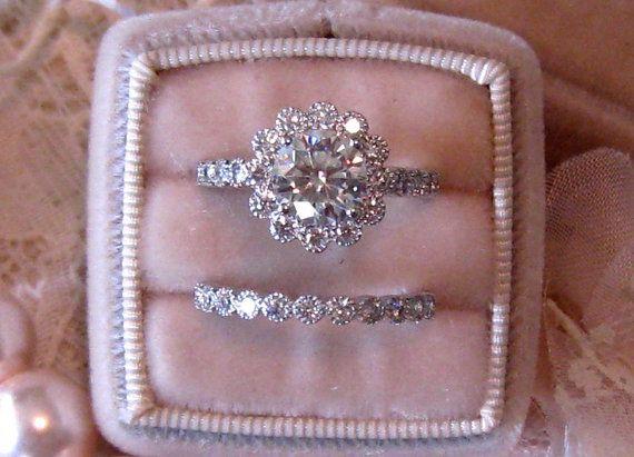 Vintage Inspired Diamond Halo Wedding Set Filigree Engagement Ring Mount And Milgrain Bezel Band Custom Bridal