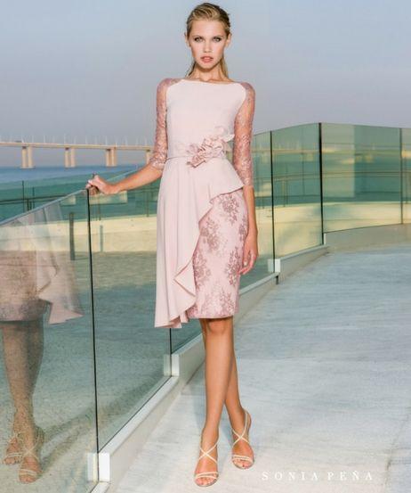 Vestidos de fiesta rosa palo cortos