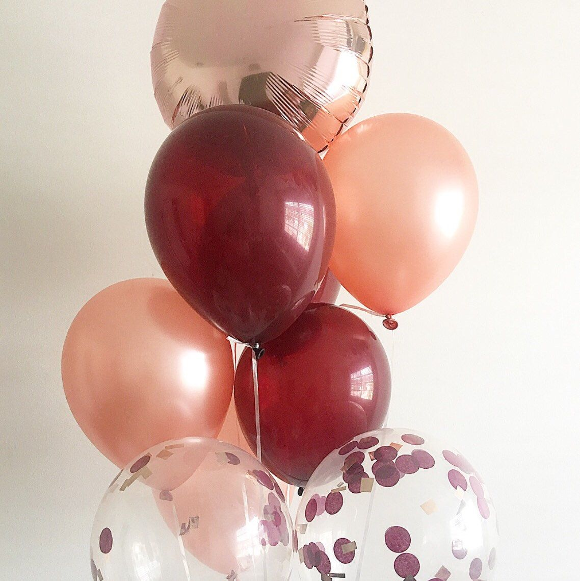 My Original Best Selling Rose Gold Balloon Bouquet Has A New Sister Rose Gold And Burgu Rose Gold Bridal Shower Fall Bridal Shower Wedding Shower Decorations