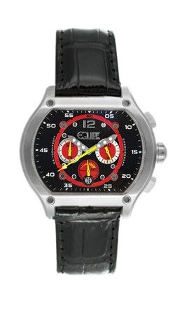 Click Image Above To Purchase: Equipe Men's Dash Stainless Chronograph Watch - Black Leather Strap - Black Dial - E719