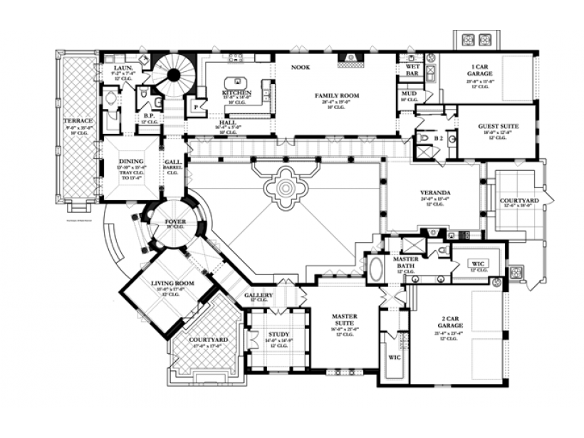 Eclectic house plan images eplans spanish house plan for Spanish colonial floor plans