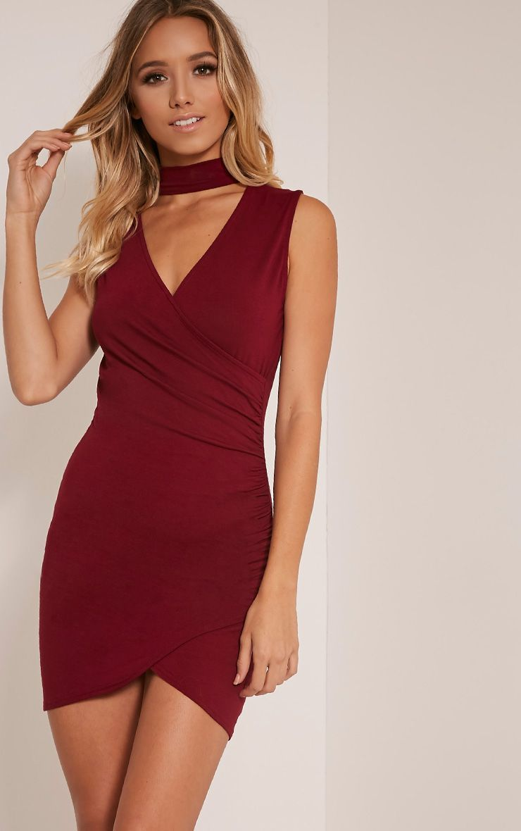 f6df1448b59 Amaris Burgundy Choker Detail Ruched Wrap Front Bodycon Dress in ...