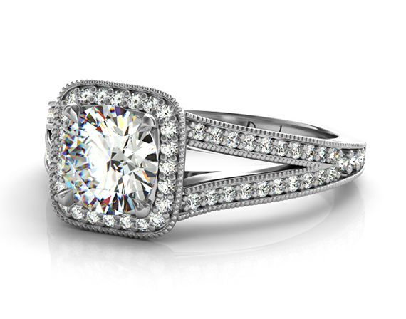 Round Brilliant Cut With Cushion Halo Micro Pavé Diamond Engagement Ring