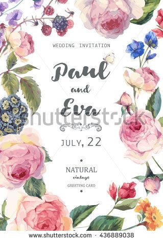 Vintage Watercolor Floral Vector Wedding Invitation With English