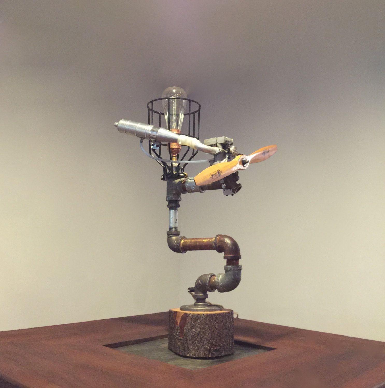 steampunk aviation lamp vintage rc airplane parts aviation decor copper - Aviation Decor