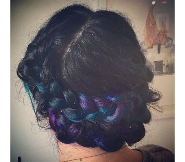 purple blue turquoise and teal ombré hair