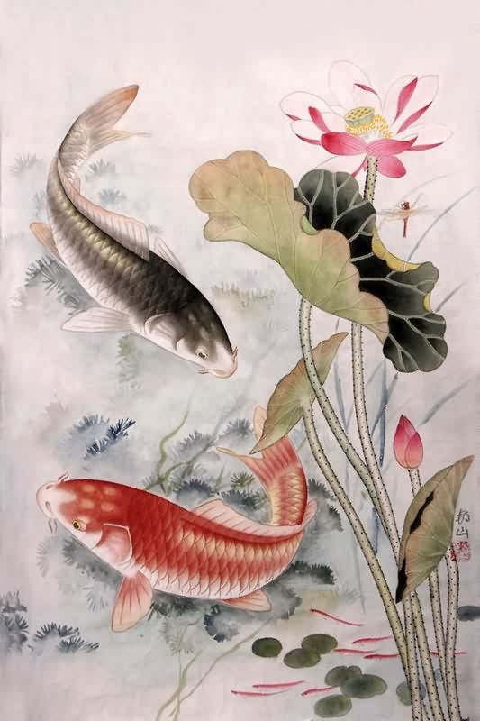Paintings of koi carp google search koi water lily for Koi carp artwork