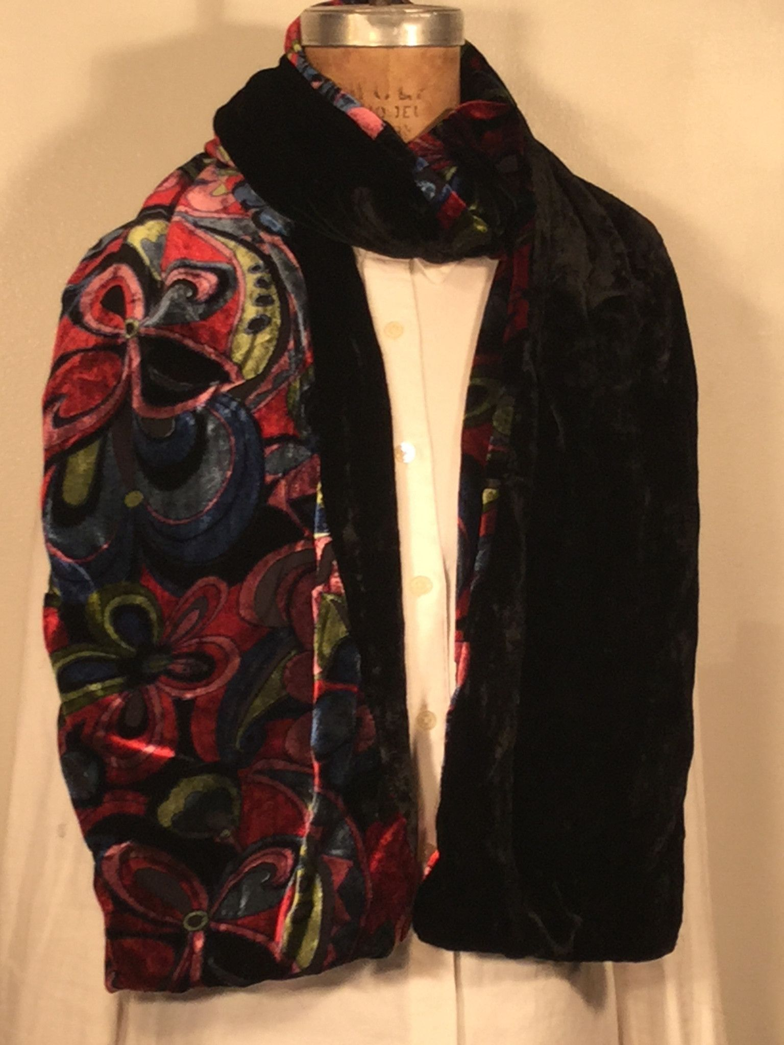 60 Multi color scarf with black back