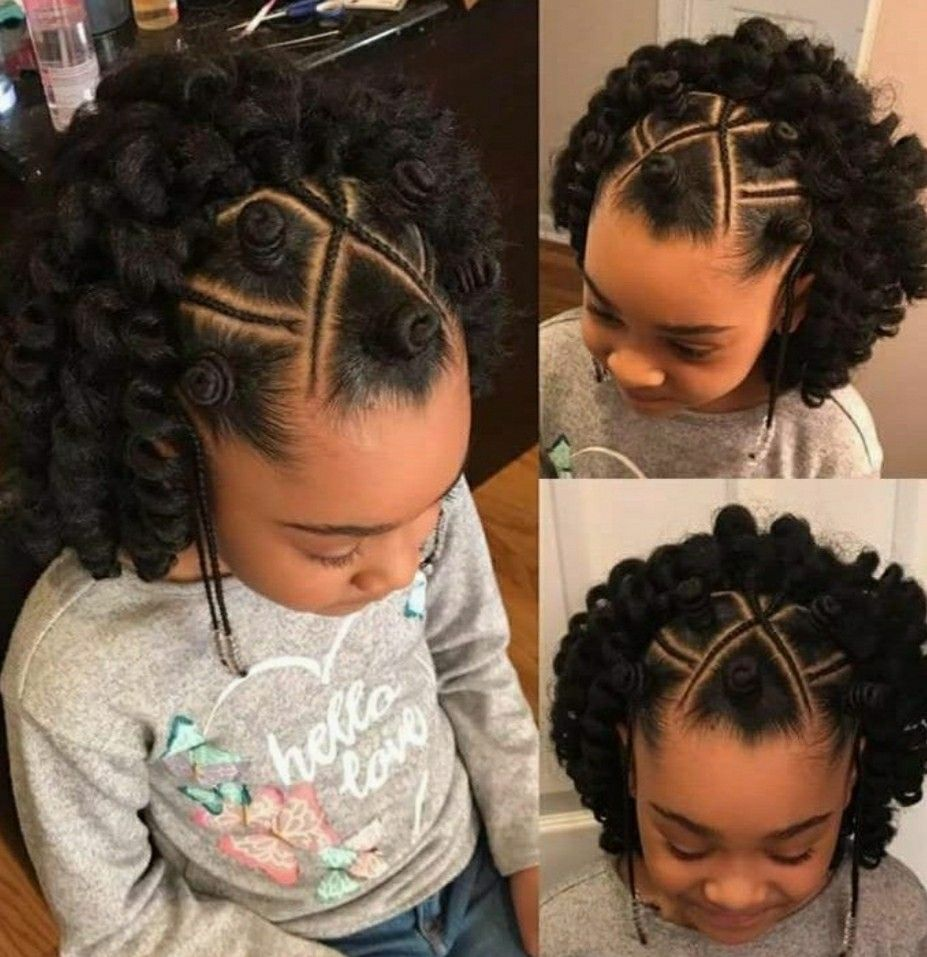 Cute Hair Style With Markey Hair Crochet In The Back Kids
