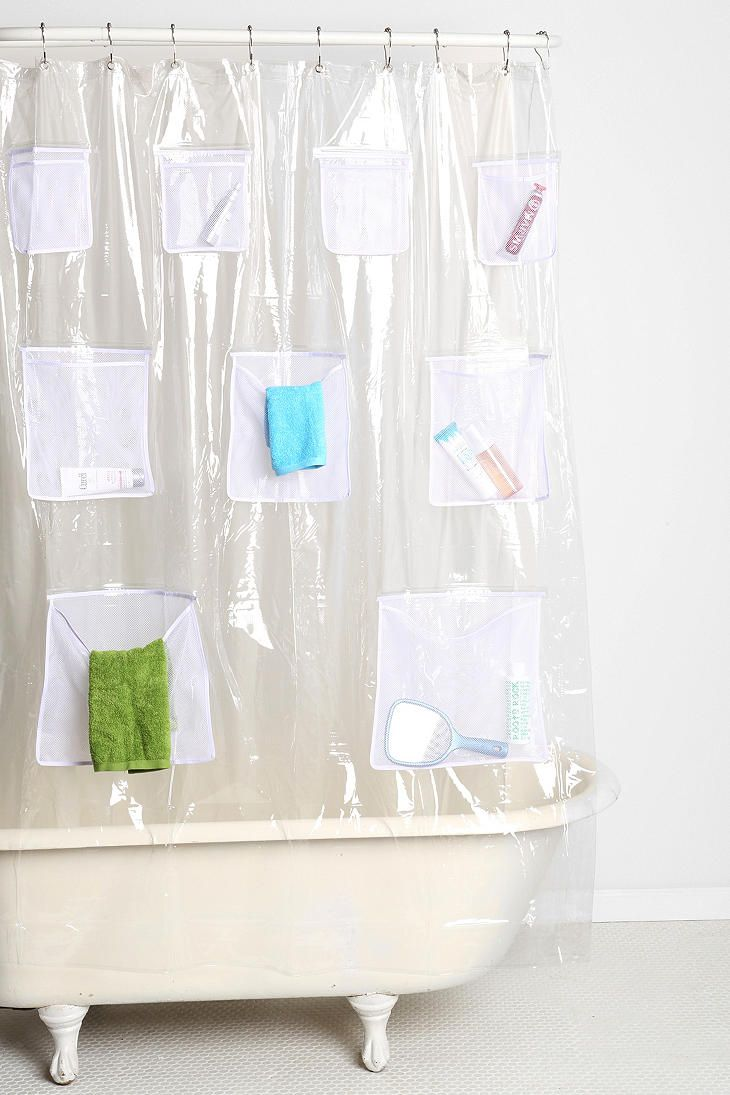 Mesh Pocket Shower Curtain. But I Would Do It On The INSIDE. Then I