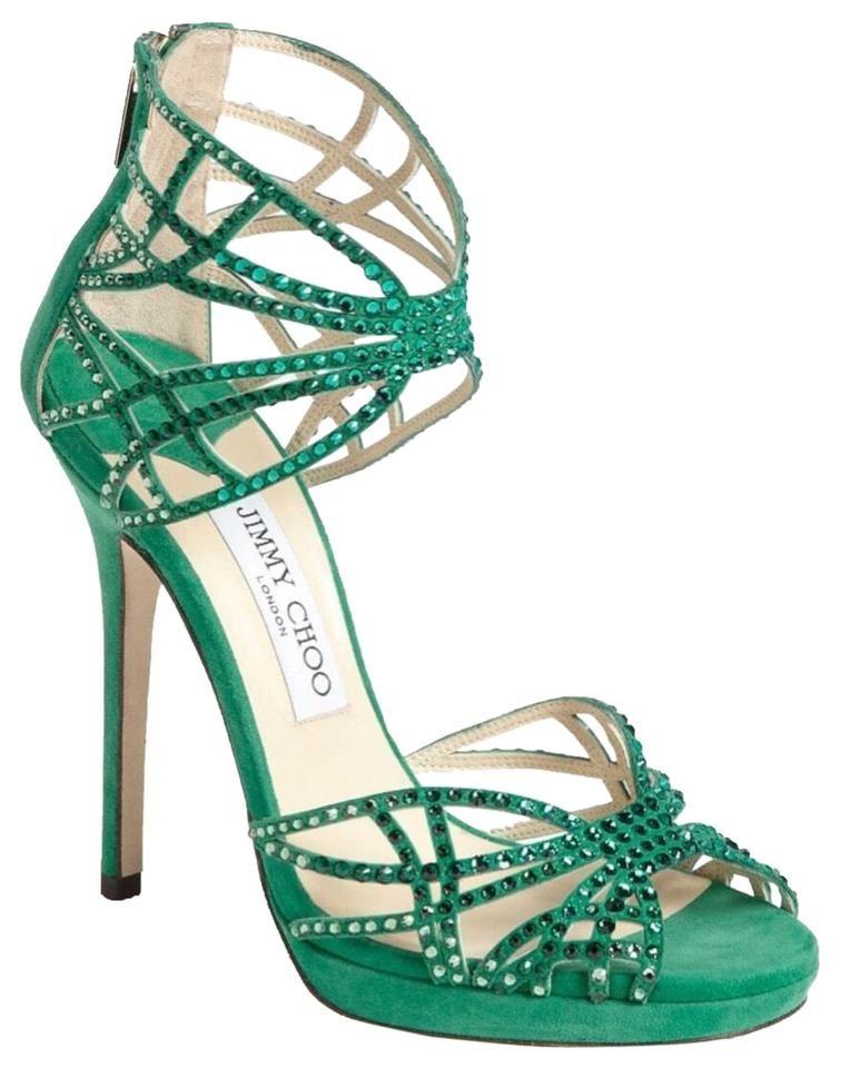 Jimmy Choo Resort Collection Jade Crystals Sandals Size Eu 37 5