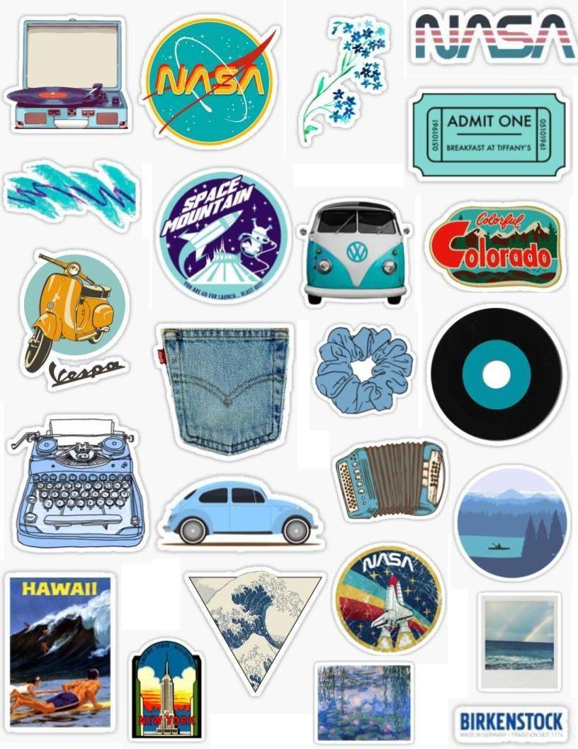 Retro blue sticker pack retro blue stickers vintage