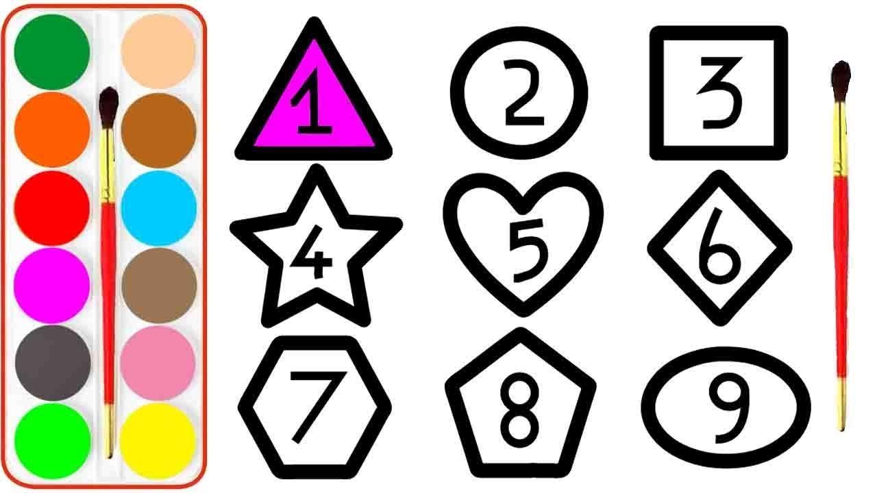 Como Desenhar Numero E Geometria Desenhando E Coloracao Glitter Numbe Learning Colors Coloring Pages Color