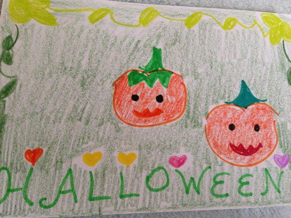 Halloween 2 pumpkins Child nursery art by LilyMoonsigns on Etsy, $4.00