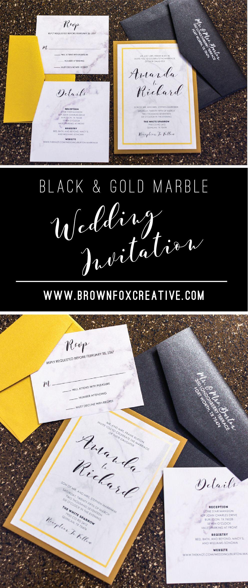 5x7 formal back pocket marble wedding invitation in black and gold 5x7 formal back pocket marble wedding invitation in black and gold includes 2 inserts and stopboris Gallery