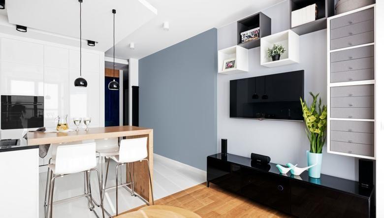 Znalezione Obrazy Dla Zapytania Pokoj Z Aneksem 17m Aranzacje Open Space Living Room Open Plan Kitchen Living Room Open Space Living