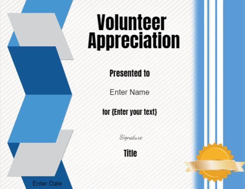 Free Printable Volunteer Certificates Conie Pinterest