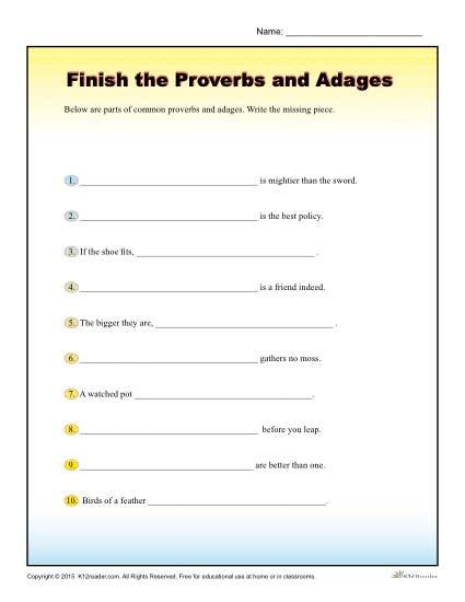 Finish The Proverbs And Adages Worksheet For 4th 5th Grade