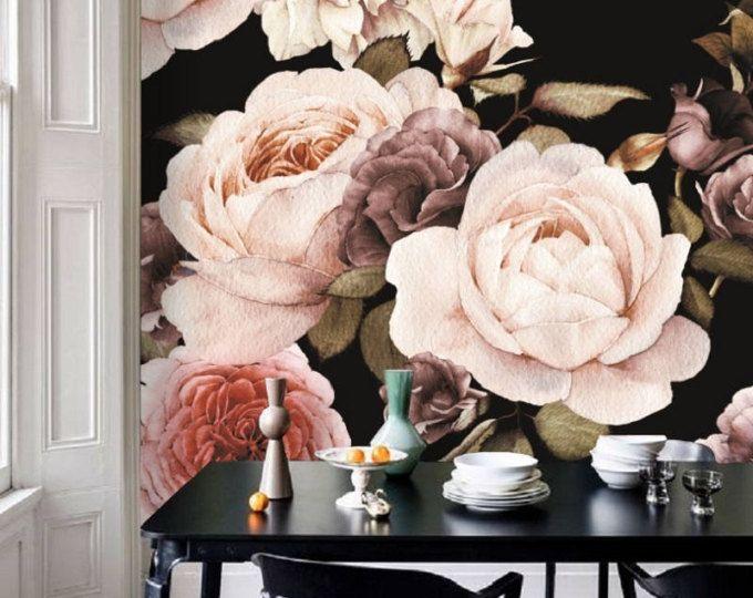 Dutch Dark Vintage Floral Removable Wallpaper, Wall Mural