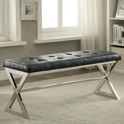 Mercer41 Bridget Upholstered Entryway Bench Upholstery Color: Black