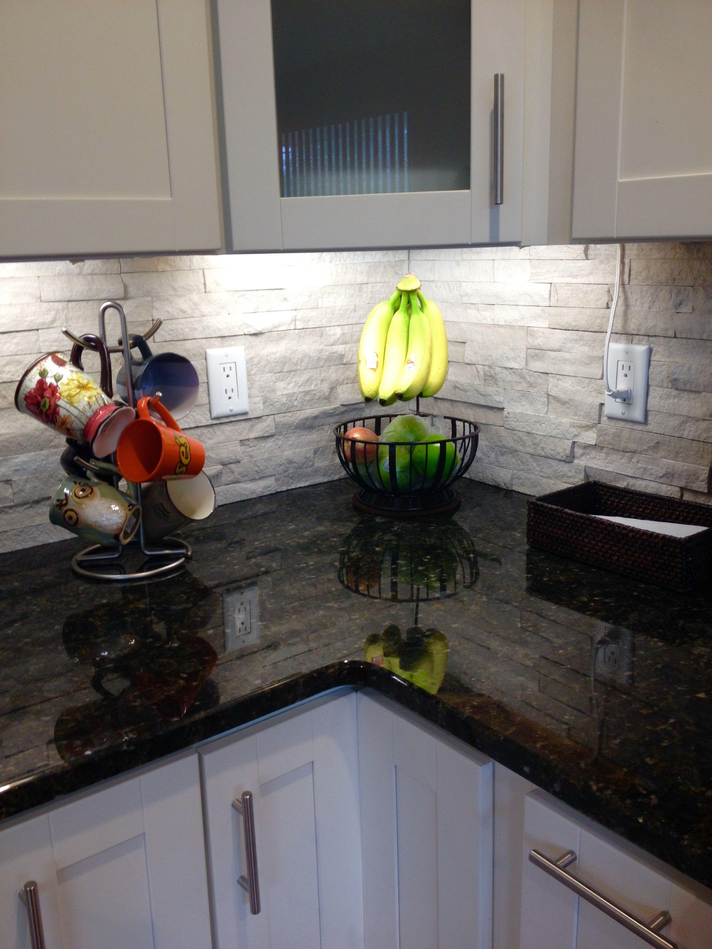 Ledger stone backsplash | Trendy kitchen backsplash ... on Backsplash For Black Granite Countertops And White Cabinets  id=23764