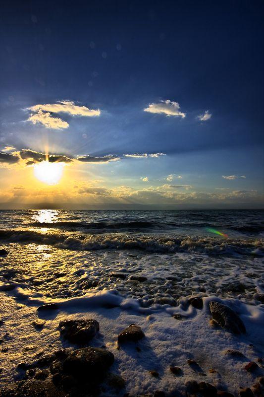"""Sunset at The Dead Sea - (Yam Hamelakh -- """"The Salt Sea""""), Israel."""