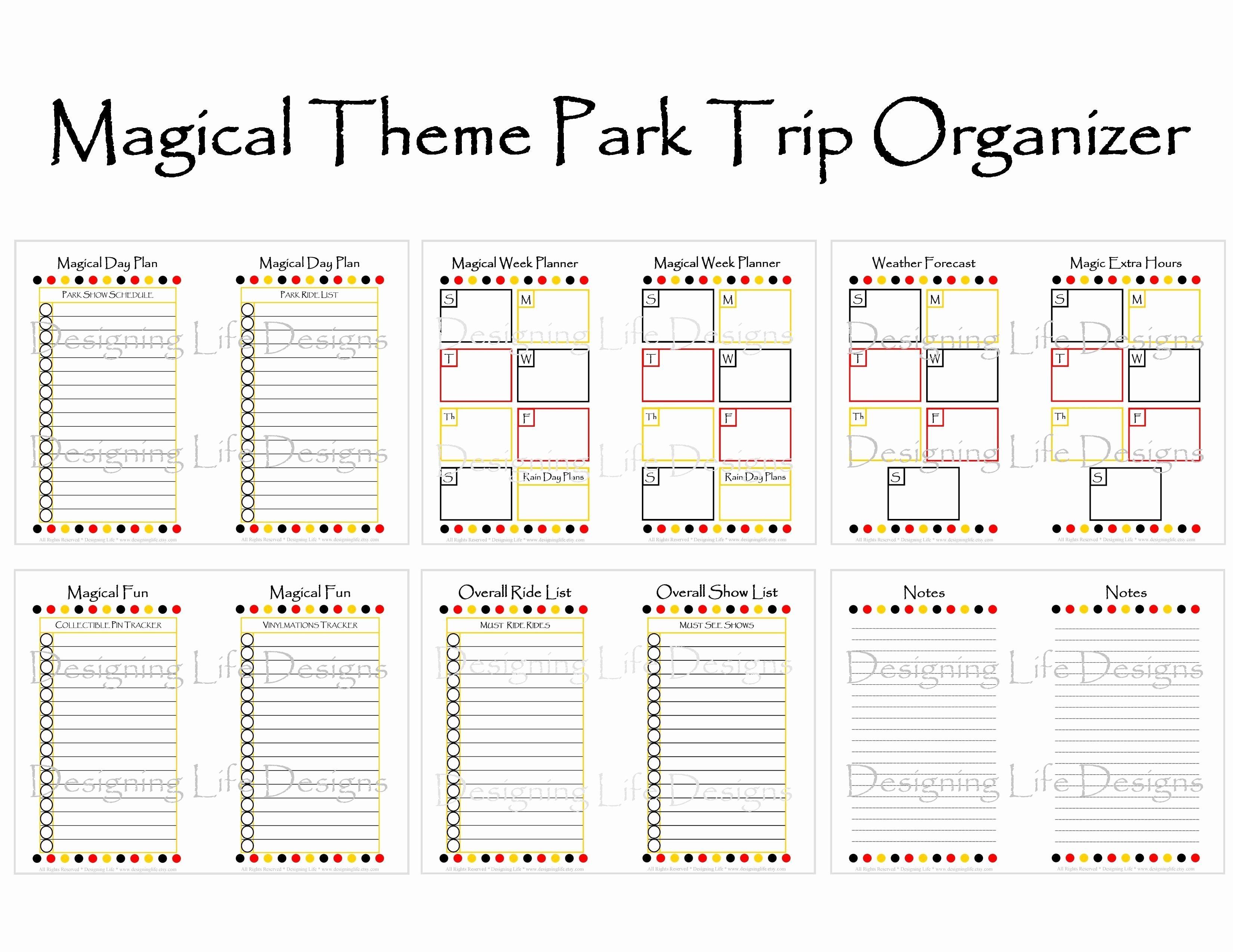 Disney World Itinerary Template Blank Template Calendar