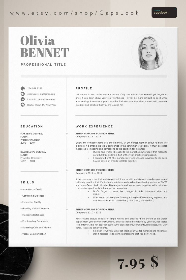 Resume Template Professional Resume Word CV Template