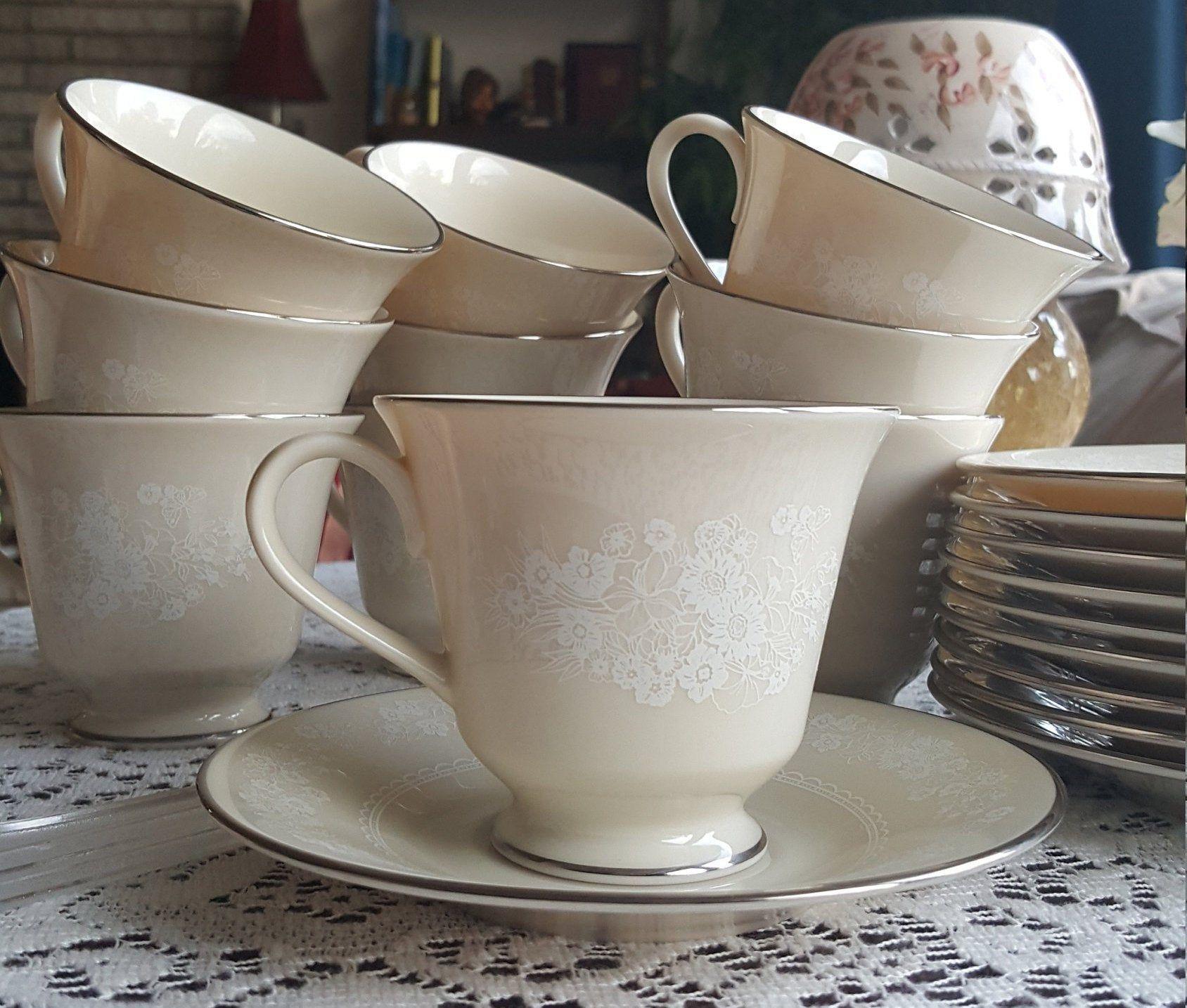 Set of 12 LENOX Snow Flower Teacups and Saucer Set 24