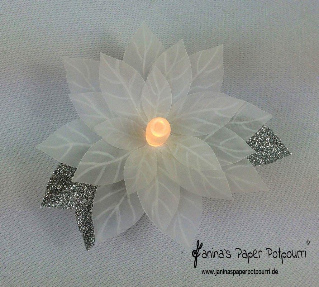 Weihnachtsstern Teelicht / Poinsettia tea light - inkl. Anleitung am Ende des Beitrages - Janina's Paper Potpourri