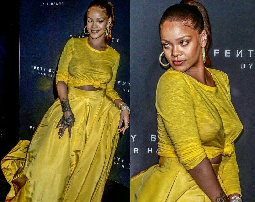 Yellow dress rihanna  Pin by Manu Sánchez on pechos de famosas llas damas  Pinterest