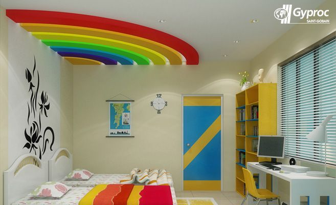 Let Your Kid S Wake Up To A Vibrant Rainbow Coloured Falseceiling Visit Www Gyproc In Ceiling Design Living Room Ceiling Design Bedroom Kids Interior Room