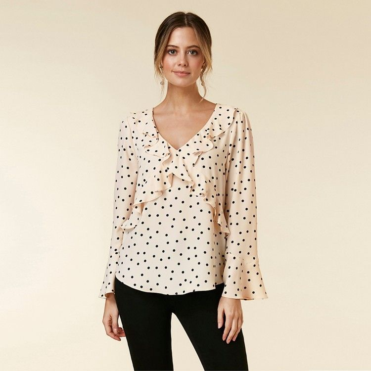 big discount unique design great fit Wallis Petite Blush Spot Frill Top | Debenhams | Frill tops, Black ...