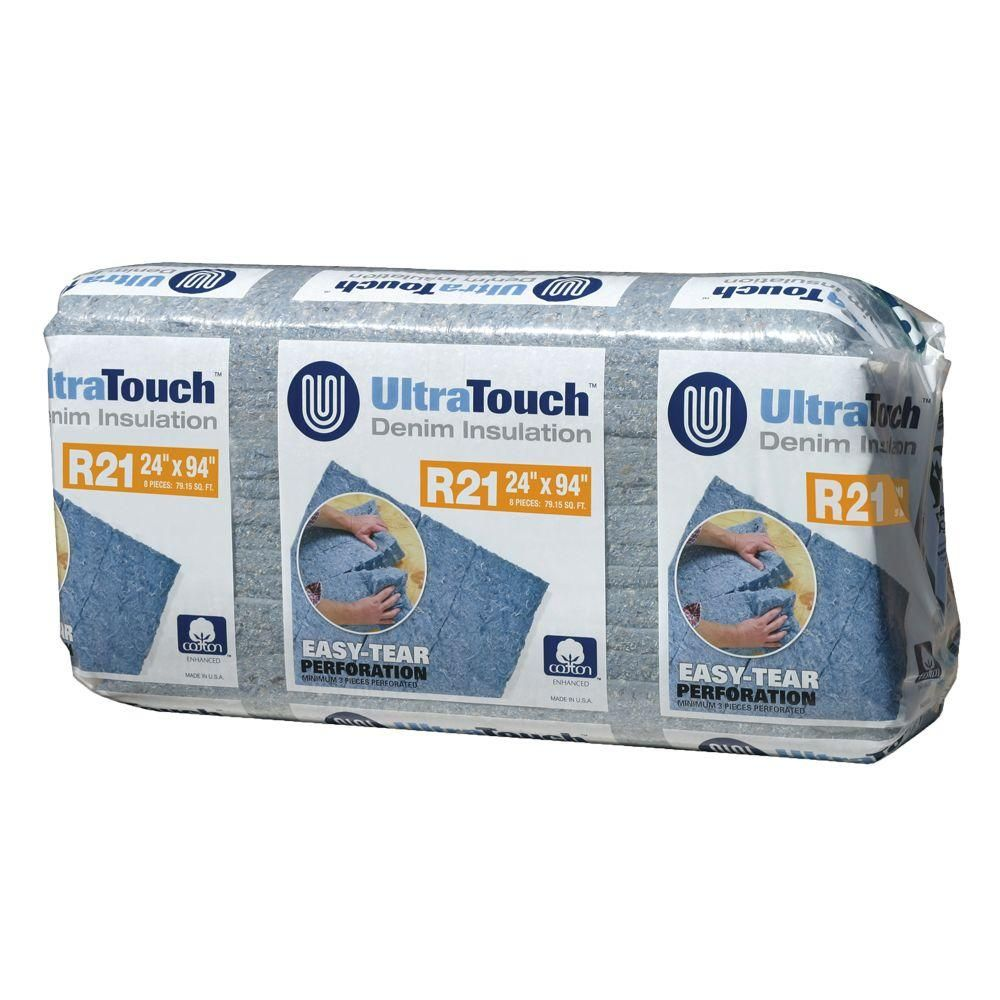 Ultratouch R 21 Denim Insulation Batts 24 25 In X 94 In 8 Bags 10003 02124 Insulation Home Depot Recycled Denim