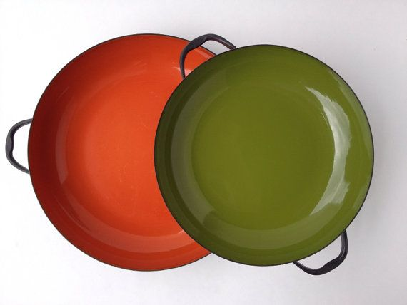 Retro Kitchen in Orange, Green and Wood by Katie Miller on Etsy
