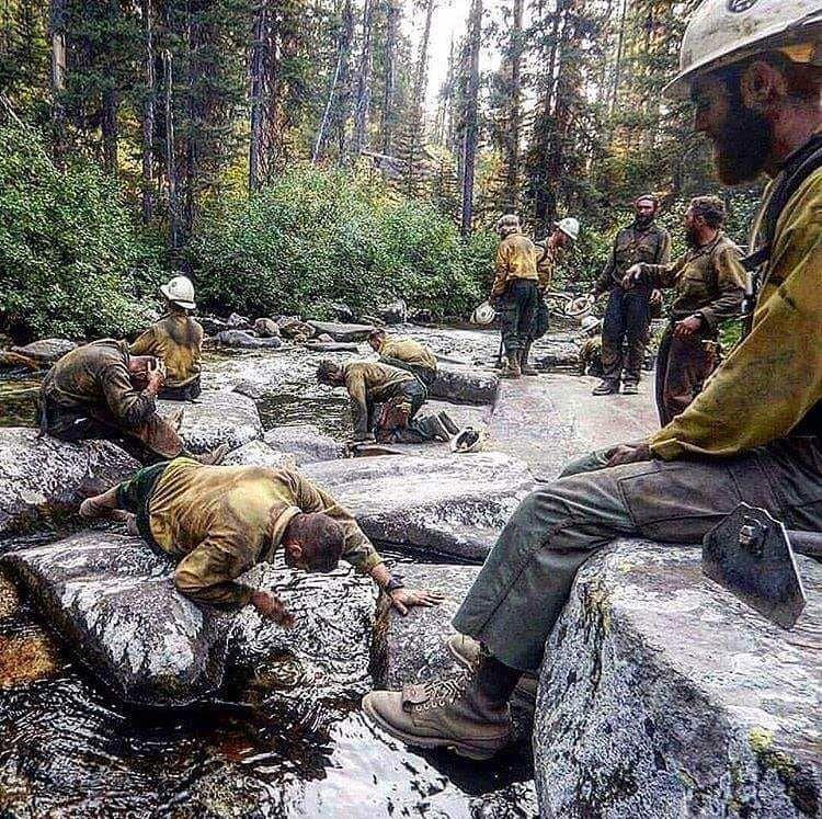 Firefighters taking a break in northern California