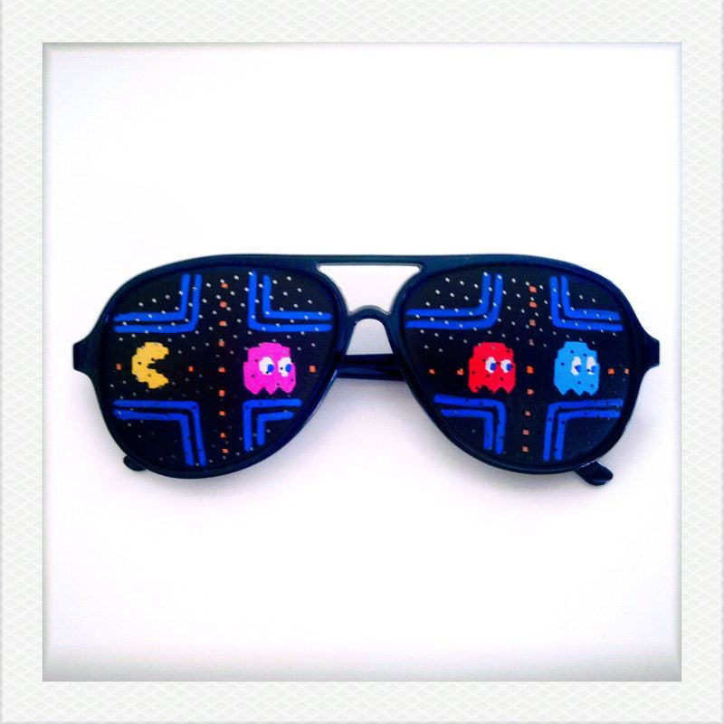 Hand Drawn Shades (pac-man) - colorful sunglasses for halloween costume, party decoration and special occasions. $20.00, via Etsy.