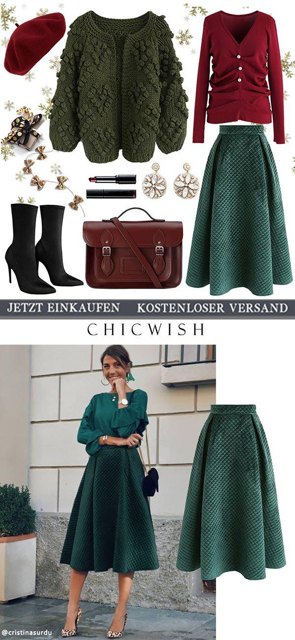 Extravaganter Glanz – Gesteppter Samtrock in Dunkelgrün – Outfits