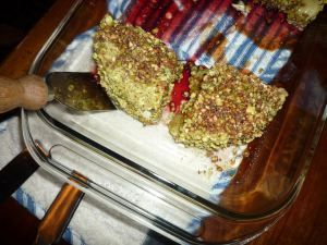 Pistachio-encrusted baked brie - my favorite thing at Palomino's