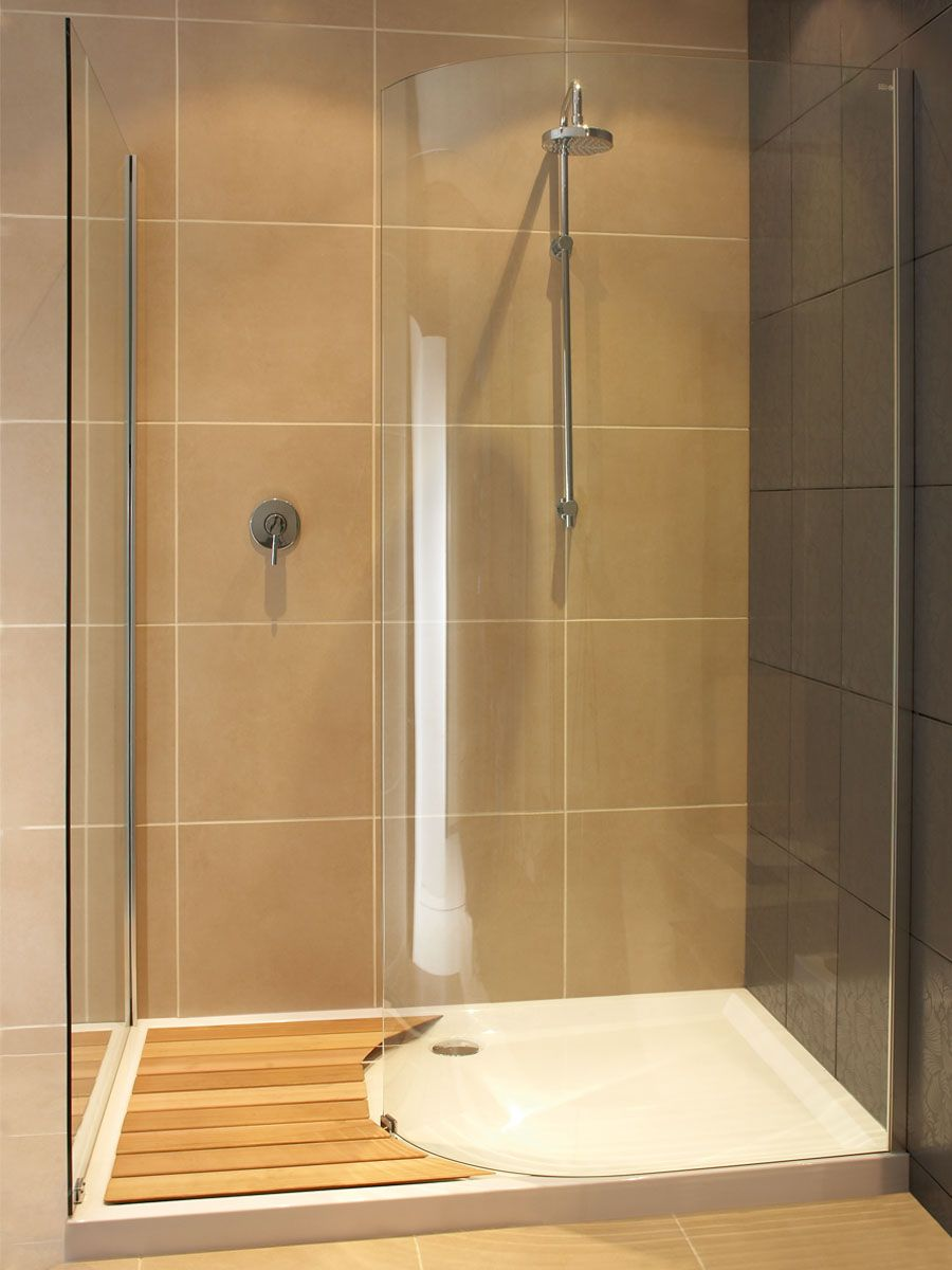 Curved glass walk in shower with timber slats, zen | My Style ...