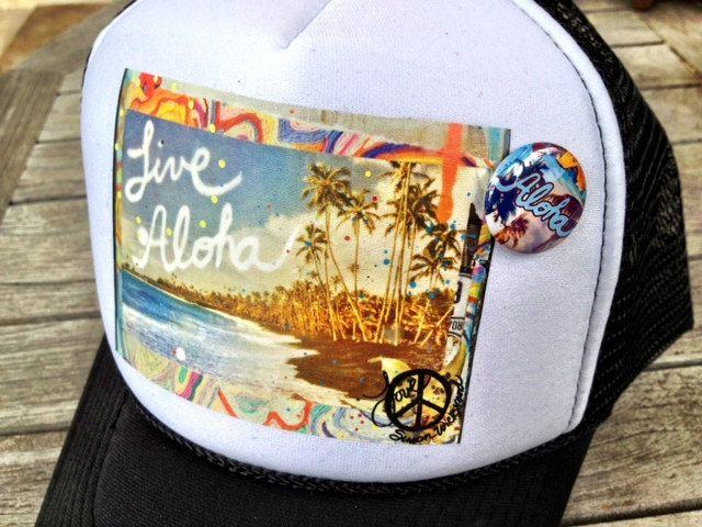 4134a1f1a45 Trucker Hats ALOHA limited ed. with custom made by susanwickstrand