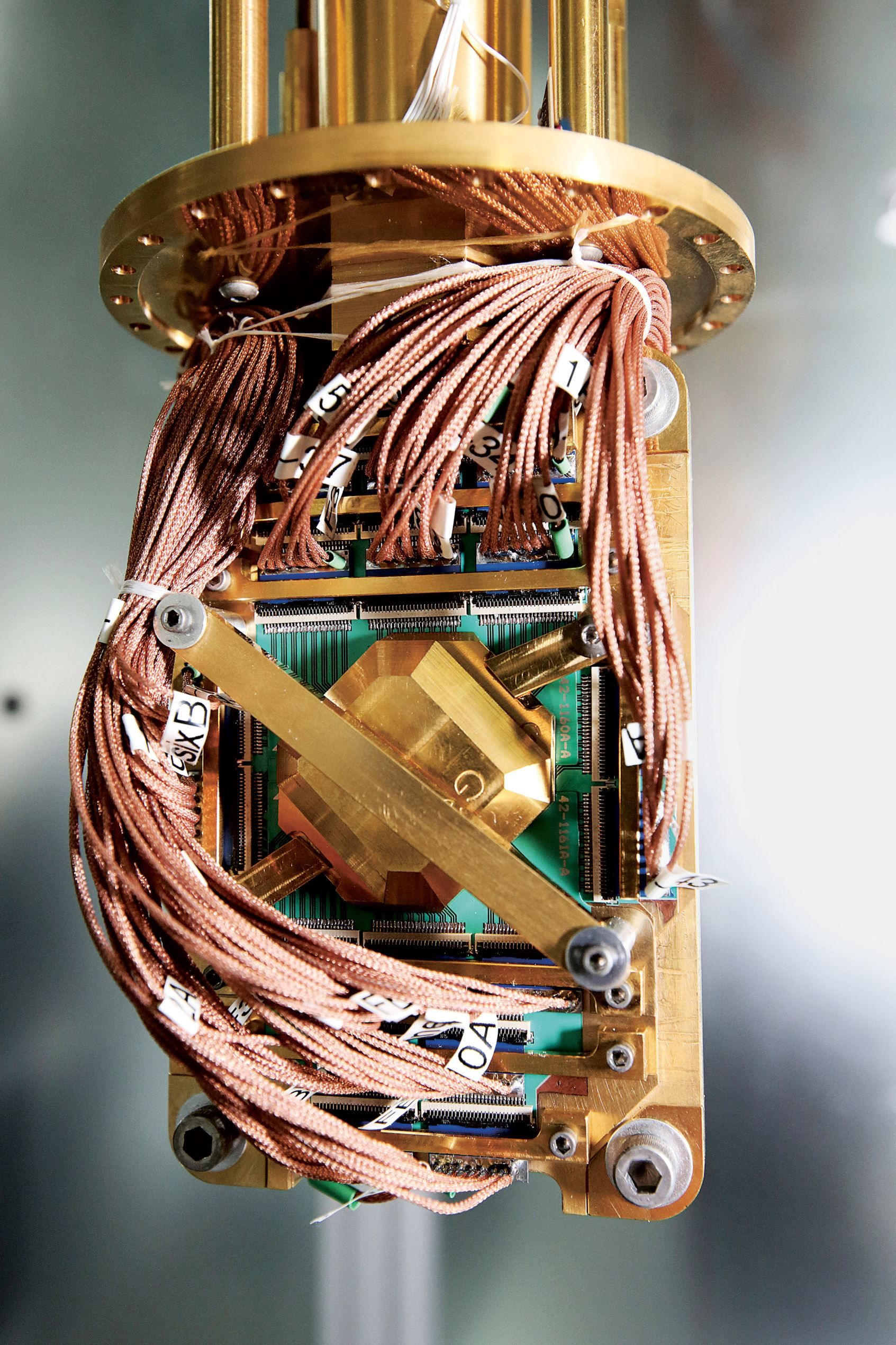 hight resolution of d wave systems quantum computer processor is pictured without its protective thermal canisters at t kim stallknecht the new york times redux