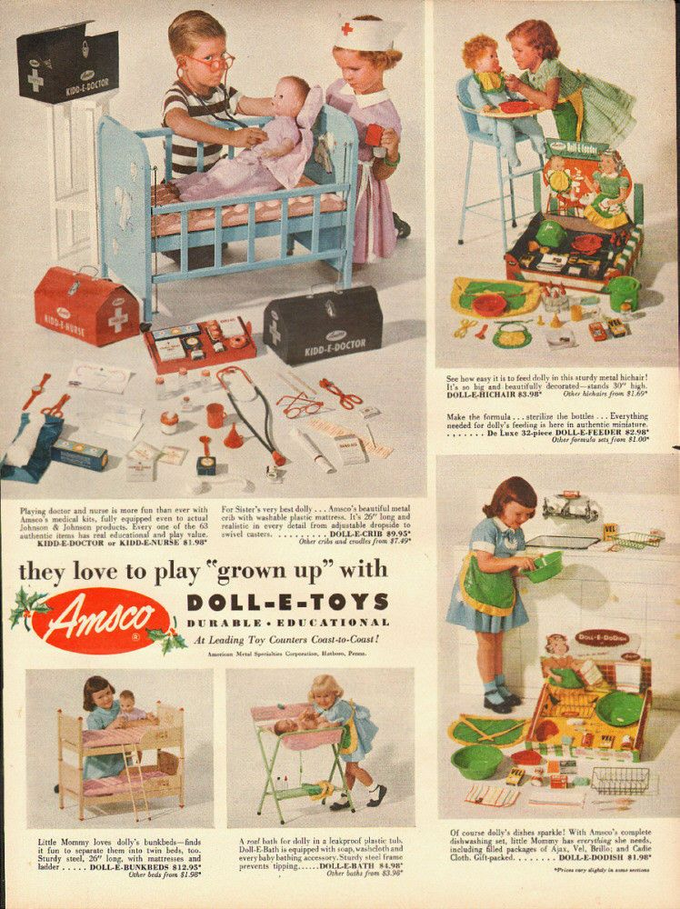 Toys From 1953 : Vintage ad for amsco s dollo e toys