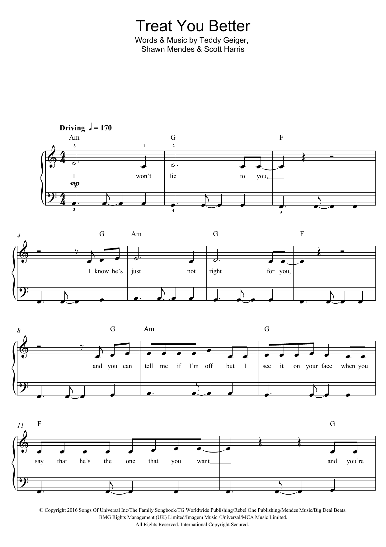 Treat You Better Sheet Music By Shawn Mendes For Piano Vocal Guitar Noteflight Marketplace Sheet Music Notes Shawn Mendes Sheet Music