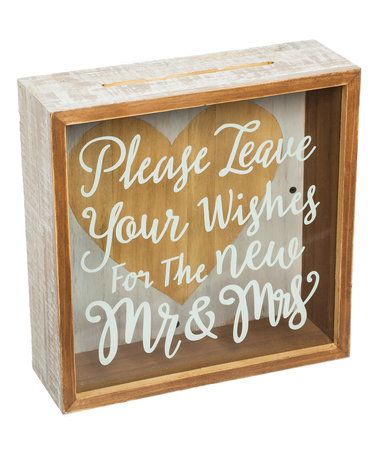 This 'Wishes for the Mr. & Mrs.' Shadow Storage Box is perfect! #zulilyfinds