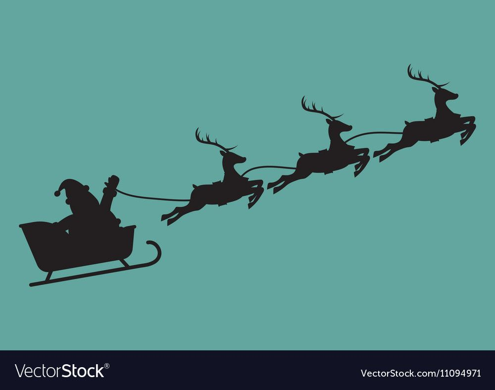 Santa Claus With Reindeer Sleigh In Silhouette Vector Image On Vectorstock In 2020 Reindeer And Sleigh Reindeer Silhouette Santa And Reindeer
