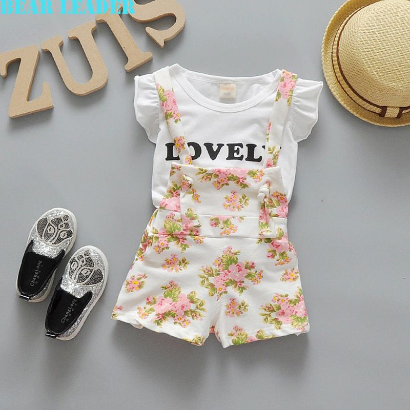 US $9.34 - 10.37 Bear Leader Baby Clothing Sets 2016 Fashion Baby Girl Boy Clothing Sets White Letter T-shirt+Floral straps shorts 2Pcs Clothes aliexpress.com