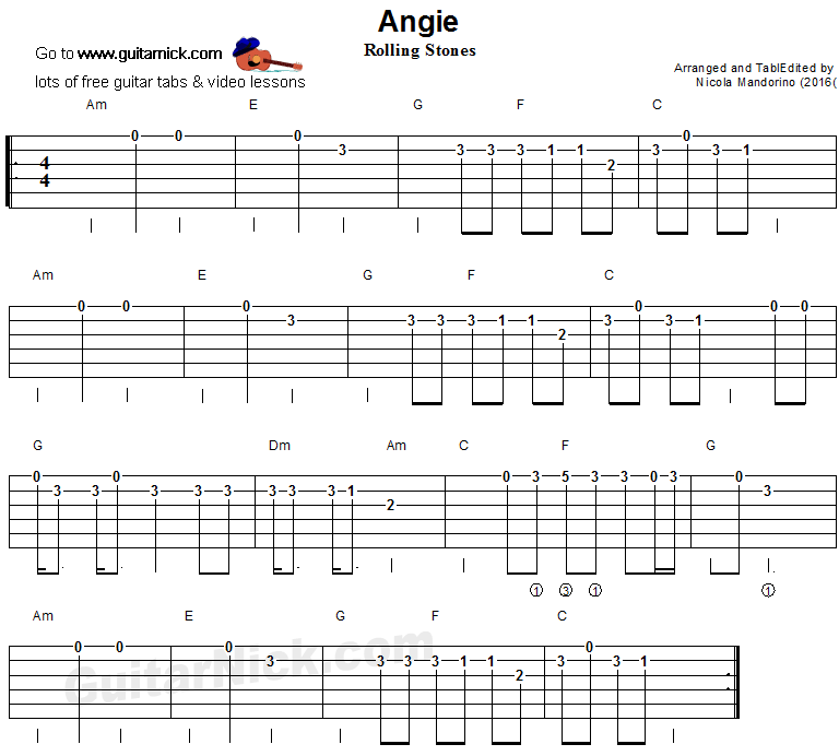 Angie Easy Guitar Tab Songs Pinterest Guitar Tabs Guitar